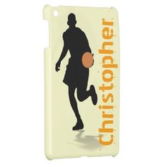 Basketball iPad Mini case template with customizable name and basketball player silhouette for you at www.zazzle.com/superdumb