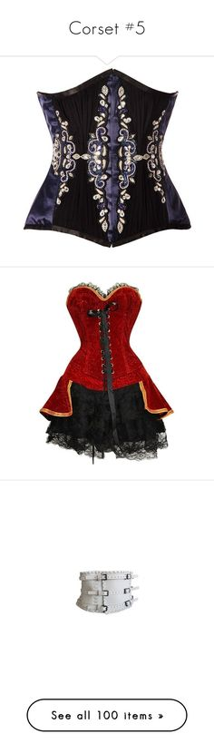 """""""Corset #5"""" by nkotbsbaby1 ❤ liked on Polyvore featuring corsets, tops, belts, shirts, costumes, dresses, pirate, red pirate costume, hook costume and pirate costume"""