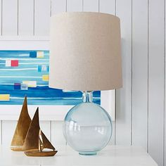Recycled Glass Table Lamp #westelm Table lamp for desk in front room.