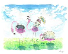 Pugs on lawn flamingos! #inkpug