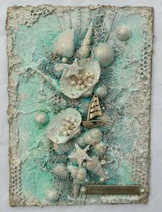 the Journey - A Mixed Media Project. Art journal and Mixed Media projects: Enjoy the Journey - A Mixed Media Project.Art journal and Mixed Media projects: Enjoy the Journey - A Mixed Media Project. Seashell Art, Seashell Crafts, Beach Crafts, Crafts To Do, Seashell Bathroom Decor, Stick Crafts, Diy Crafts, The Journey, Canvas Collage