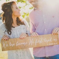 We love because He first loved us. 1 John 4:19 | Christian Couple | Fall Engagement Photo Idea | Read more of our story on the blog!