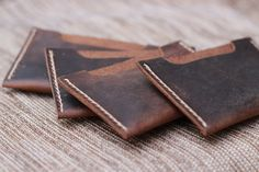 Christmas in July SALE: Distressed leather card holder by JooJoobs - $11.00