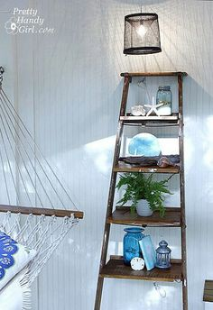 screen porch makeover, home decor, painted furniture, repurposing upcycling, rickety old ladder turned into display shelving Ladder Display, Display Shelves, Ladder Decor, Ladder Shelves, Diy Shelving, Old Ladder, Rustic Ladder, Antique Ladder, Casa Stark