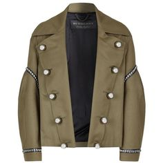 Burberry Runway Studded Military Jacket ($1,830) ❤ liked on Polyvore featuring outerwear, jackets, military field jacket, army jacket, military style jacket, burberry jacket and shiny jacket