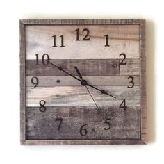 Recycled Pallet Wood Wall Clock Industrial Square Clock by RayMels
