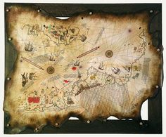 Piri Reis Map of the World Mais Old World Maps, Old Maps, Antique Maps, Vintage World Maps, Ancient Aliens, Ancient History, Christoffel Columbus, Piri Reis Map, European Map