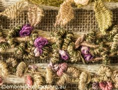 Casalguidi Garden Avenue ~ Detail of Bullions & French Knots ~ Textured Embroidery by Pat Bootland ~ Embroiderers Guild ACT
