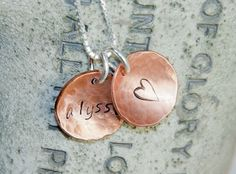 Mom Necklace - Stamped Necklace - Name Necklace - Personalized Necklace - Initial Necklace -  2 1/2 Inch Hammerd and Domed Copper $22.00