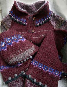 Купить Кардиган Бокал марсала - орнамент, вязаный кардиган, модный цвет, мериносовая шерсть, разноцветный