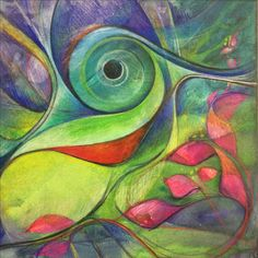 Mixed media , watercolor and color pencil a work in progress , hummingbird abstract