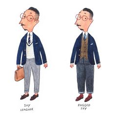 Menswear Illustrated by Mister Slowboy Artist Fei Wang (aka Mister Slowboy) has some great fashion illustrations on Instagram. Readers who frequent other style sites might see some familiar faces – Italian tailor Antonio Liverano, Frasi's Simone Righi, and a couple of The Armoury guys. There's also a Tintin inspired character in various get-ups, as well as a reimagined Churchill dressed in contemporary E. Tautz. The account is a fun browse.