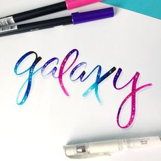 Galaxy Lettering using Tombow Dual Brush Pens