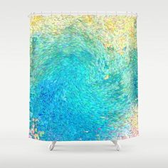 "#applainces Blue, teal, gold, swirling under sea abstract #shower curtain measures 70"" by 70"" and has button holes for hanging. Made #from my original art and pri..."