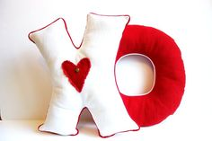 Hugs and kisses pillow red and white by JoJosArtisticDesign, $52.00