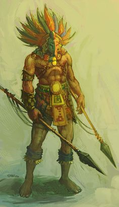 View an image titled 'Aztec Warrior Art' in our Guild Wars: Eye of the North art gallery featuring official character designs, concept art, and promo pictures. Medieval Fantasy, Dark Fantasy, Fantasy Art, Guild Wars, Jaguar, Character Art, Character Inspiration, Aztec Culture, Tribal Warrior