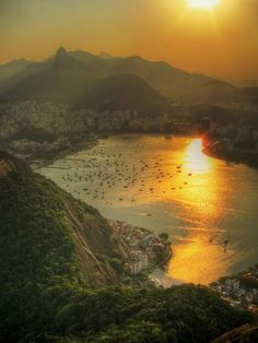 """'Sunset over Botafogo - Rio de Janeiro -Brasil' """"Turning my head into a new horizon and clearing my problems away, I see Brasil, Heat, and Adventure (and migraines from the plane. Places Around The World, The Places Youll Go, Places To See, Around The Worlds, Beautiful World, Beautiful Places, Rio Brazil, Brazil Carnival, Dream Vacations"""