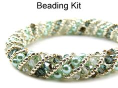 Russian Spiral Stitch Crystal Pearl Beaded Bracelet Mint Green Beading Kit