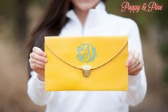 Yellow Monogram Clutch Purse by PoppyPine on Etsy, $18.99