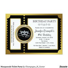 Masquerade Ticket Party 5x7 Paper Invitation Card