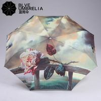 an rose umbrella, Oil painting ,fold , easy to bring it beside you.