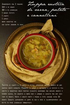 Zuppa rustica di verza, patate e cannellini