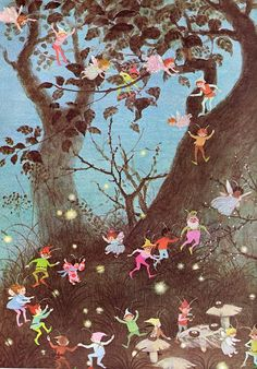 Illustration by Gyo Fujikawa, 1979 Fantasy Kunst, Fantasy Art, Elves And Fairies, Vintage Fairies, Vintage Children's Books, Vintage Kids, Flower Fairies, Fairy Art, Magical Creatures