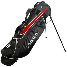 """S:650 Stand Bag in Black and Red - Includes new design balanced double strap, large storage pockets and a 6.5"""" divider top"""