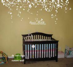 Etiquetas de la pared de la naturaleza del árbol de etiquetas bebé vivero niños habitación decoración blanca pared decoración pared arte verde boceto