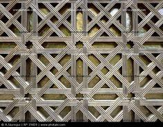 Latticework patterns in the Interior Patio of Oranges in the Mezquita Catedral in Córdoba