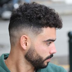 Curly Hair with Mid Bald Fade