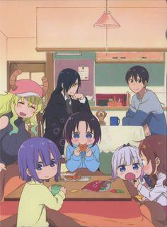 kobayashi-san chi no maid dragon elma (kobayashi-san chi no maid dragon) fafnir (kobayashi-san chi no maid dragon) kanna kamui magatsuchi shouta quetzalcoatl (kobayashi-san chi no maid dragon) saikawa riko takiya makoto horns megane sweater Elma Dragon Maid, Miss Kobayashi's Dragon Maid, Maid Dragon Kanna, Dragon Maid Manga, Fafnir Dragon, Dragons Tumblr, Neko, Dragon Horns, Otaku
