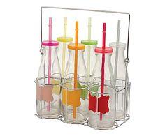 Set de 6 botellas de vidrio con soporte Bot