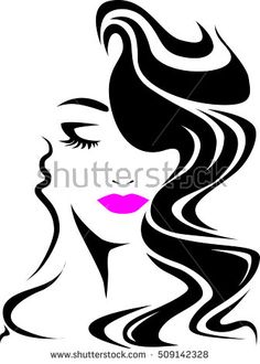 Nice woman long hair style, logo woman face on white background, vector