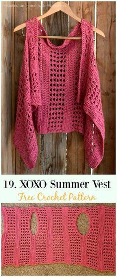 XOXO Summer Crochet Vest Crochet Free Pattern – Women Free Patt… – Women Shoes bags and Accessory Cardigan Au Crochet, Crochet Vest Pattern, Black Crochet Dress, Crochet Jacket, Crochet Cardigan, Crochet Shawl, Crochet Patterns, Crochet Vests, Free Pattern