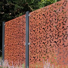 Buy Weathering Steel Large Decorative Screens by Stark & Greensmith — The Worm that Turned - revitalising your outdoor space Bamboo Screening Fence, Privacy Screen Outdoor, Garden Screening, Steel Fence Panels, Burford Garden Company, Rusty Garden, Wooden Screen Door, Weathering Steel, Tree Canopy
