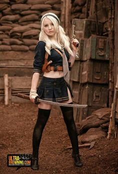 """Babydoll, a young mental patient/sex slave/dancer, played by Emily Browning in the 2011 fantasy action film """"Sucker Punch"""" Emily Browning, Sucker Punch Cosplay, Sucker Punch Costume, Warrior Girl, Suckers, Fantasy Girl, Cosplay Girls, Baby Dolls, Hollywood"""