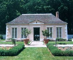 Hubert de Givenchy - Orangery at Le Jonchet. From The Givenchy Style, Rizzoli, French Cottage, French Country House, Classical Architecture, Residential Architecture, Garden Pavillion, Garden Buildings, Facade House, Classic House, Pool Houses