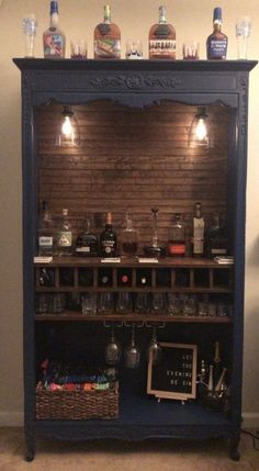 Repurposed armoire into bar with shiplap back 10 wine bottle slots rocks glass Repurposed Furniture armoi Armoire Bar bottle glass Repurposed Rocks Shiplap slots Wine Diy Nursery Furniture, Home Bar Furniture, Refurbished Furniture, Cabinet Furniture, Repurposed Furniture, Furniture Projects, Furniture Makeover, Home Projects, Painted Furniture