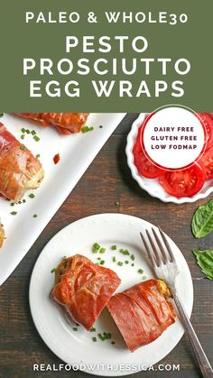 These Paleo Whole30 Pesto Prosciutto Egg Wraps are a fun, handheld breakfast. Tender cooked eggs wrapped in crispy prosciutto making a healthy burrito. They are gluten free, dairy free, low carb and low FODMAP. Best Paleo Recipes, Real Food Recipes, Delicious Recipes, Whole30 Pesto, Paleo Breakfast, Breakfast Ideas, Egg Wrap, Dairy Free, Gluten Free