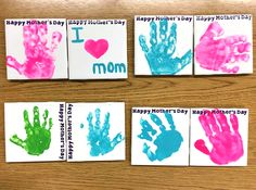"""Buy some white tiles, have the kids presstheir handprints on them with acrylic paint then write """"Happy Mother's Day"""" on the top or side. Glue a round piece of cork on the bottom so it won't scratch the table. Make sure to put the date on the back, it's such a sweet keepsake gift for …"""