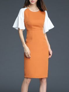 Shop Midi Dresses - Work Paneled Frill Sleeve Plain Midi Dress online. Discover…