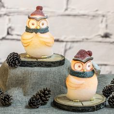 Set of 2 Snowy Owl Flameless Wax LED Candles - Candle Impressions