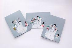 "Christmas - White HandPrint - Card ... Dressed up as Family of Snow ""People"" CUTE! FROM: Интересные идеи памятных новогодних подарков - Ярмарка Мастеров - ручная работа, handmade"