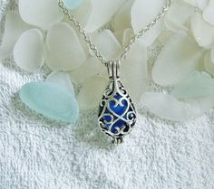 Sea glass locket necklace Blue teardrop by EgyptianInspirations, $23.99