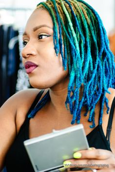 Blue ombre dyed dreads