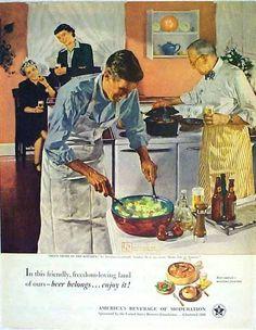 Men's night in the kitchen - 1951 beer advertisement