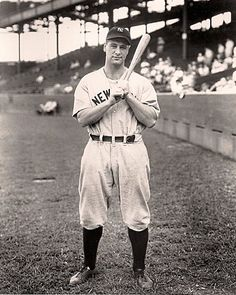 """Lou Gehrig ~ """"Henry Louis Gehrig (June 19, 1903 – June 2, 1941) a great man, great player with great character and great courage.. played 17 seasons in Major League Baseball for the New York Yankees (1923–1939). Gehrig set several major league records, including most career grand slams (23) and most consecutive games played (2,130). Gehrig is chiefly remembered for his prowess as a hitter and his durability, a trait which earned him his nickname Iron Horse'"""