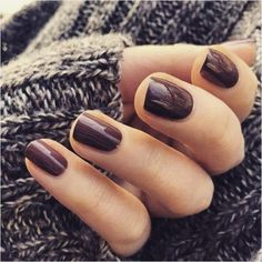 simple brown autumn nails