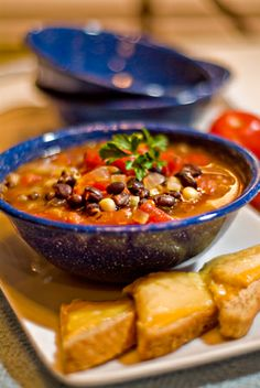 Black & White Bean Soup - one of the best bean soups I've ever made and it comes together in about 20 minutes from @NevrEnoughThyme www.lanascooking.com/2010/03/02/black-white-bean-soup/